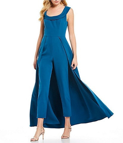 Kay Unger Stretch Crepe Cap Sleeve Walk-Thru Pant And Overlay Cape Skirt Jumpsuit