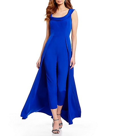 0f319f1e05 Kay Unger Stretch Crepe Sleeveless Walk-Thru Pant And Overlay Cape Skirt  Jumpsuit