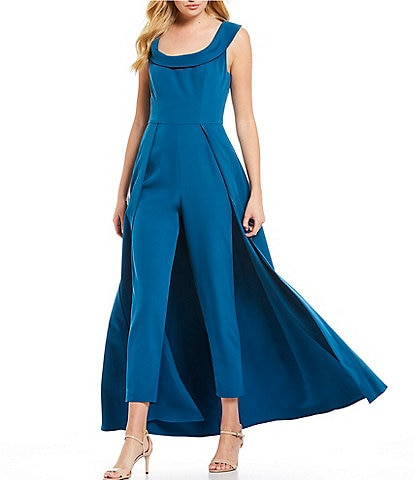 Kay Unger Stretch Crepe Sleeveless Walk Thru Pant And Overlay Skirt Jumpsuit