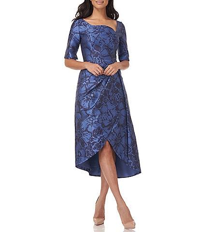 Kay Unger Tallulah Tea Length Floral Jacquard Dress