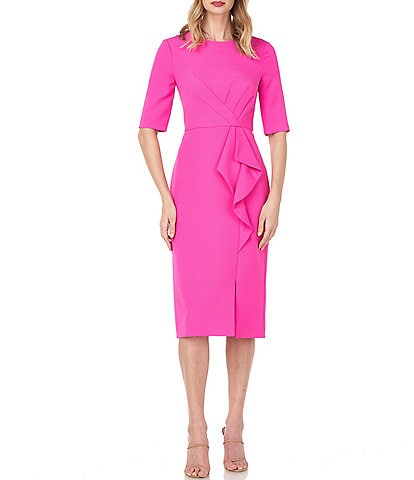 Kay Unger Tinsley Elbow Sleeve Ruffle Front Stretch Crepe Midi Sheath Dress