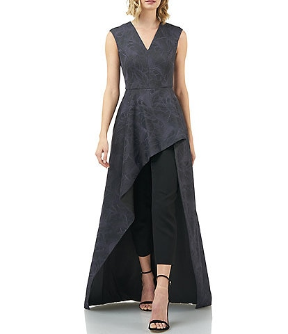 Kay Unger V-Neck Jacquard Asymmetrical Walk Thru Sleeveless Jumpsuit