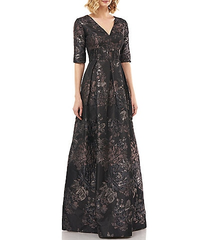 Kay Unger V-Neck Pleated Waist Metallic Floral Print Jacquard Ballgown
