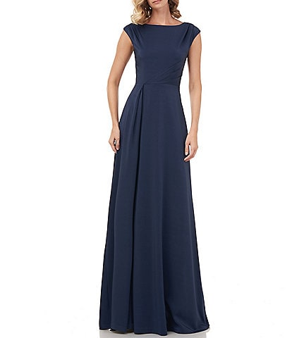 Kay Unger Whitney Stretch Faille Silk Cap Sleeve A-Line Gown
