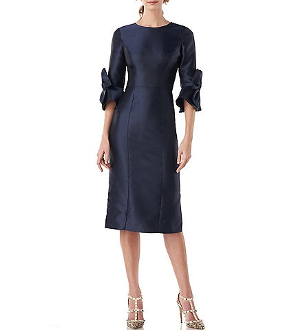 Kay Unger Yasmine 3/4 Bow Sleeve Twill Sheath Midi Dress