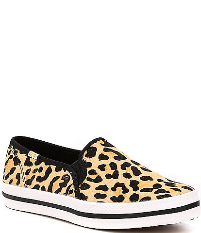 keds x kate spade new york Double Decker Leopard Printed Calf Hair Pony Sneakers