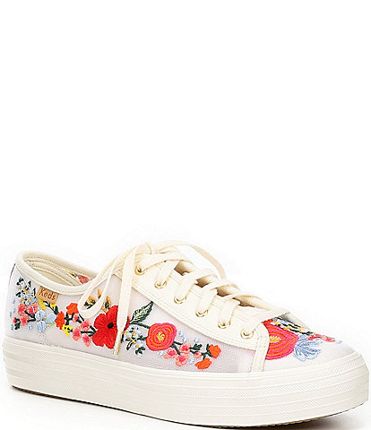 Keds Rifle Paper Co. Triple Kick Embroidered Mesh Sneakers