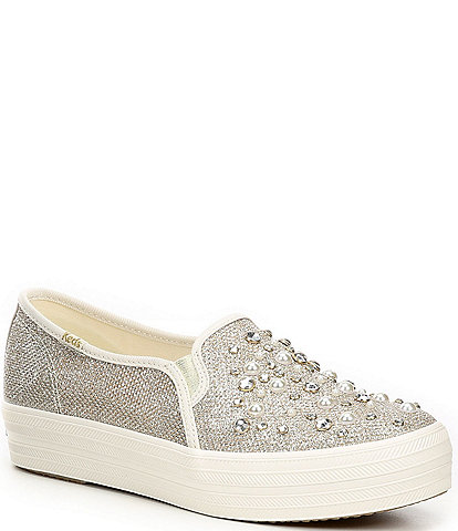 Keds x kate spade new york Triple Decker Embellished Lurex Sneakers