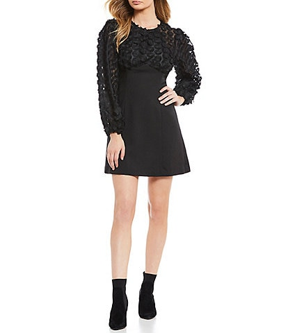 Keepsake Mirrors Long Sleeve Floral Lace Mini Dress