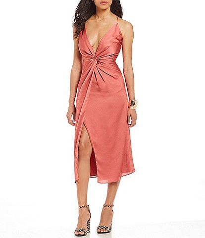 Keepsake Romance Knot Front Slip Midi Dress