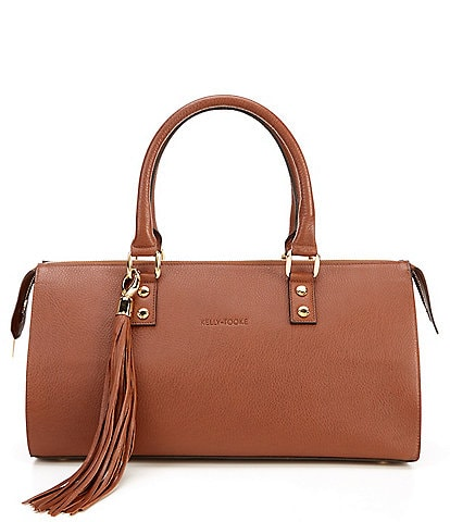 Kelly-Tooke Soho Leather Top Handle Barrel Tassel Satchel Bag