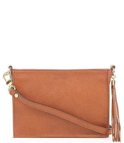 Kelly-Tooke Zip Top Leather Tassel Crossbody Clutch