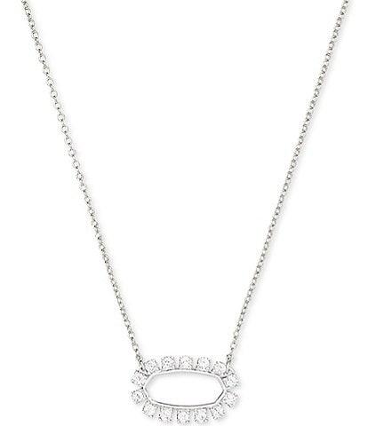 Kendra Scott Elisa Open Frame Crystal Silver Pendant Necklace