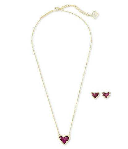 Kendra Scott Ari Heart 14k Gold Plated Necklace & Earrings Gift Set