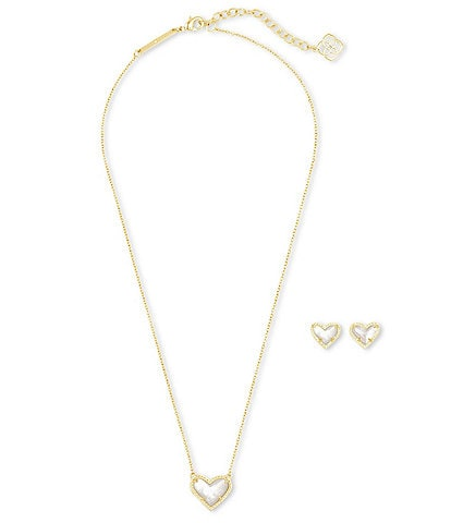 Kendra Scott Ari Heart 14k Gold Plated Necklace & Earrings Gift Set