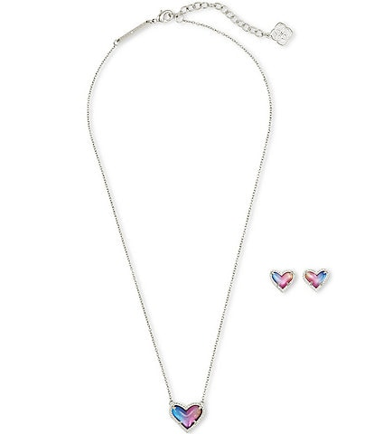 Kendra Scott Ari Heart Watercolor Illusion Necklace and Earrings Gift Set