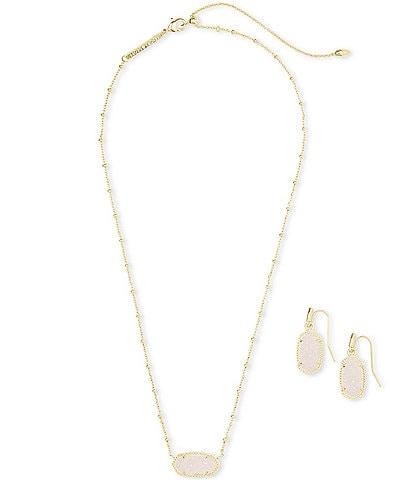 Kendra Scott Elisa Satellite 14k Gold Plated Necklace & Lee Earrings Gift Set