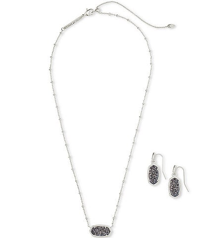 Kendra Scott Elisa Satellite Silver Necklace & Lee Earrings Gift Set