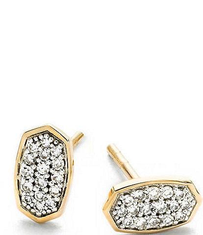 Kendra Scott Marisa Stud Earrings In White Diamond And 14K Gold