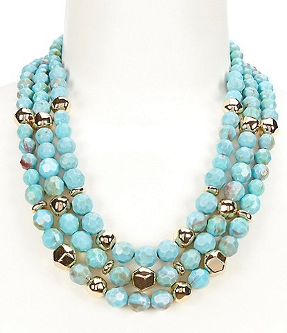 Kennedy Row Three Row Faceted Bead Short Multi Strand Necklace