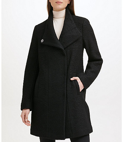 Kenneth Cole New York Asymmetrical Pressed Boucle Wool Wide Lapel Collar Coat