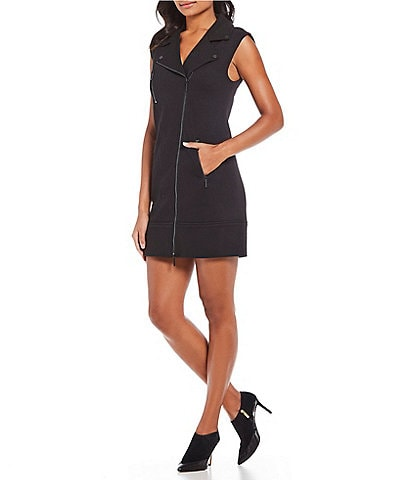 Kenneth Cole New York Asymmetrical Zip-Front Moto Dress