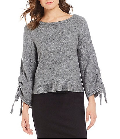 Kenneth Cole New York Boat Neck Drawstring Sleeve Cropped Sweater