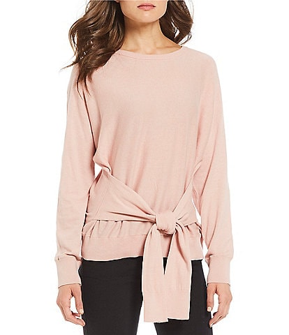 Kenneth Cole New York Crew Neck Tie Front Dolman Pullover