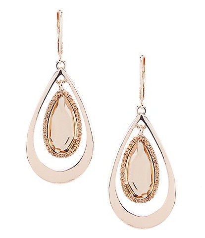 Kenneth Cole New York Crystal Stone Teardrop Orbital Statement Earrings
