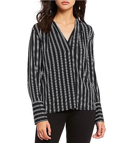 Kenneth Cole New York Double Pin Striped Surplice V-Neck Jersey Blouse