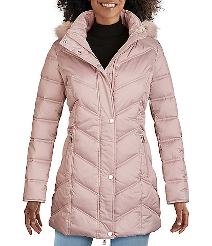 Kenneth Cole New York Faux Fur Trim Hooded Chevron Quilted Puffer Coat