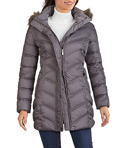Kenneth Cole New York Faux Fur Trim Hooded Stand Collar Neck Long Sleeve Chevron Quilted Puffer Coat