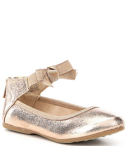 Kenneth Cole New York Girls' Rose Metallic Bow Ankle Strap Ballerina Flats