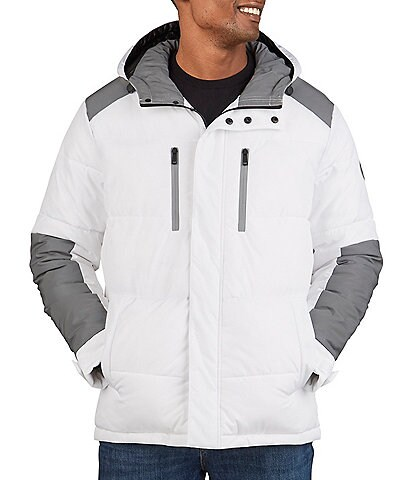 Kenneth Cole New York Long-Sleeve Mixed-Media Hooded Puffer Jacket