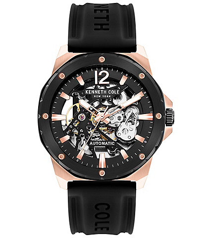 Kenneth Cole New York Men's Automatic Black Silicone Strap Watch
