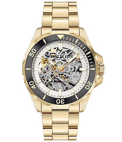 Kenneth Cole New York Men's Automatic Gold-Tone Stainless Steel Bracelet Watch