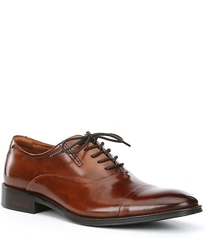 Kenneth Cole New York Men's Tully Leather Lace Up Cap Toe Dress Shoes