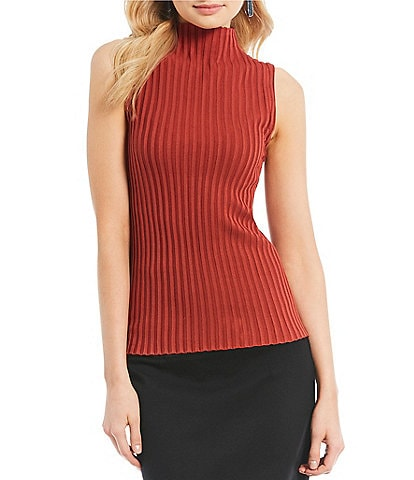 Kenneth Cole New York Mock Neck Sleeveless Ribbed Knit Sweater