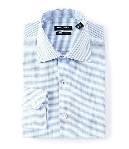 Kenneth Cole New York Non-Iron Regular Fit Spread Collar Irregular Check Dress Shirt