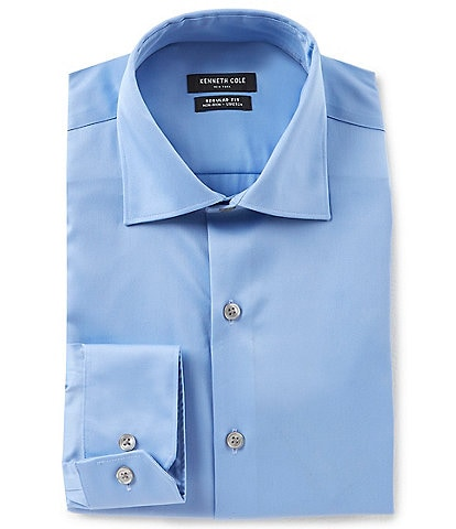 Kenneth Cole New York Non-Iron Regular Fit Spread Collar Solid Dress Shirt