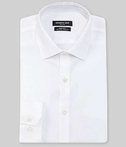Kenneth Cole New York Non-Iron Slim Fit Spread Collar Solid Dress Shirt