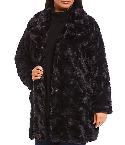 Kenneth Cole New York Plus Size Grooved Faux Fur Notch Collar Coat