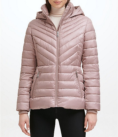 Kenneth Cole New York Short Water-Resistant Stand Collar Hooded Long Sleeve Chevron Puffer Jacket