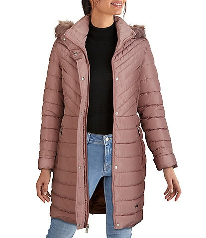 Kenneth Cole New York Stand Collar Neck Faux Fur Trim Hooded Long Sleeve Quilted Satin Puffer Coat