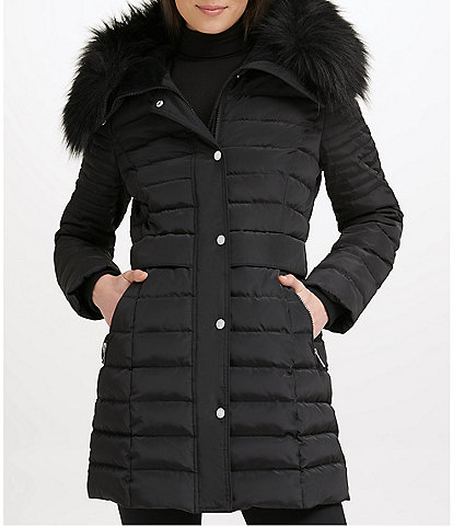 Kenneth Cole New York Water-Resistant Faux Fur Trim Hooded Quilted Puffer Coat