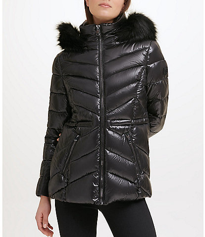 Kenneth Cole New York Water Resistant Faux Fur Trim Stand Collar Hooded Chevron Quilted Puffer Jacket