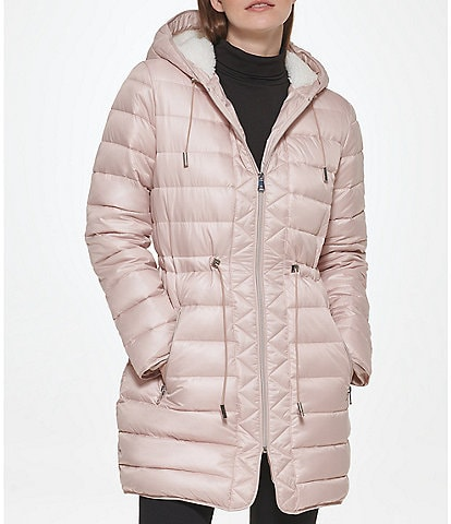 Kenneth Cole New York Water-Resistant Faux Sherpa Lined Stand Collar Hooded Long Sleeve Quilted Anorak Puffer Coat