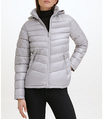 Kenneth Cole New York Water-Resistant Stand Collar Detachable Packable Hood Long Sleeve Quilted Jacket