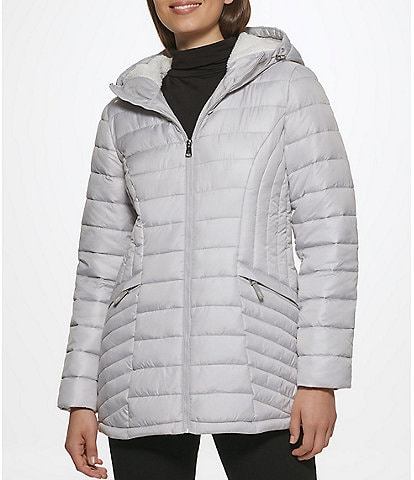 Kenneth Cole New York Water-Resistant Stand Collar Long Sleeve Faux Sherpa Hooded Quilted Puffer Jacket