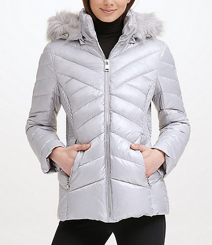 Kenneth Cole New York Water-Resistant Stand Collar Removable Faux Fur Trim Hooded Long Sleeve Chevron Quilted Puffer Jacket